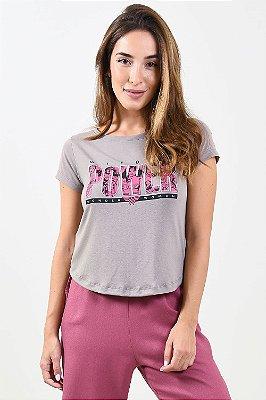 Blusa manga curta com estampa