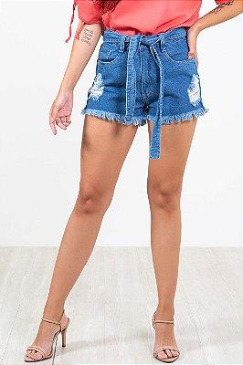 Shorts jeans curto com barra desfiada