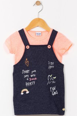 Conjunto infantil salopete e blusa fakini