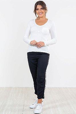 Blusa manga longa mullet com bolso lunender