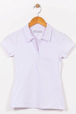 Blusa manga curta gola polo com botão
