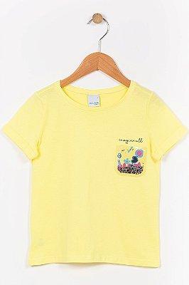 Blusa infantil manga curta com aplique malwee