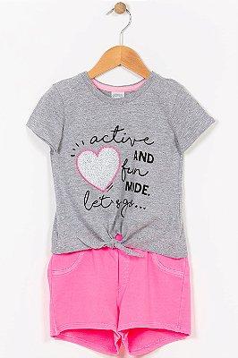 Conjunto infantil blusa e shorts alakazoo
