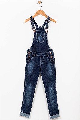Jardineira jeans infantil comprida