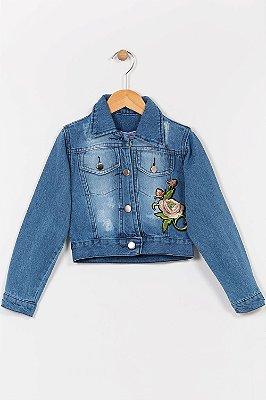 Jaqueta jeans infantil com bordado