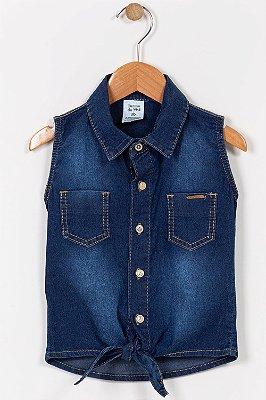 Camisa jeans infantil sem manga
