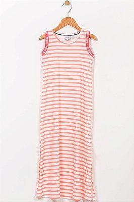 Vestido infantil longo listrado alakazoo