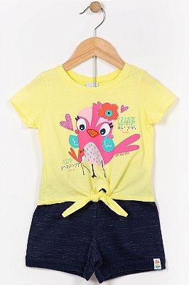 Conjunto infantil blusa manga curta e shorts malwee