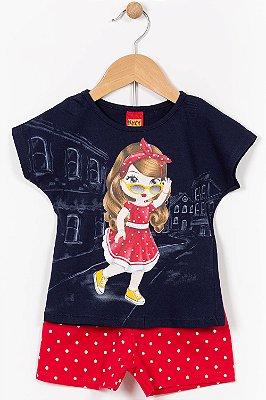 Conjunto infantil blusa manga curta e shorts kyly