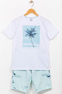 Conjunto juvenil camiseta e bermuda alakazoo