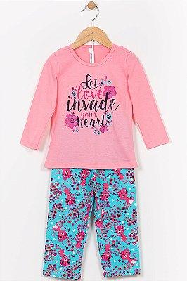 Pijama infantil blusa manga longa e calça malwee