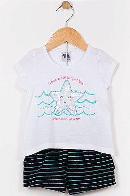 Conjunto infantil blusa manga curta e shorts kika
