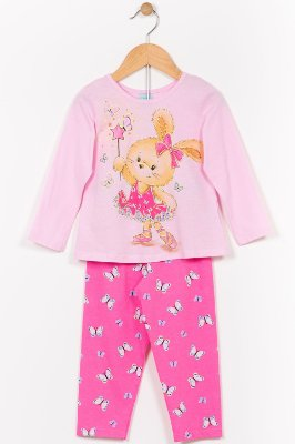 Pijama infantil blusa manga longa e calça kyly