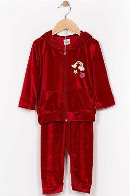 Conjunto plush infantil jaqueta e calça kika