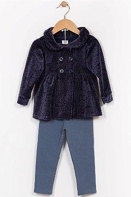 Conjunto plush infantil casaco manga longa e legging