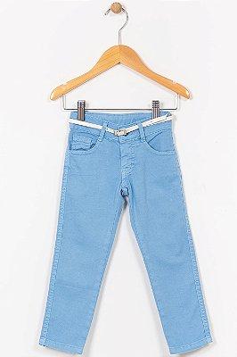 Calça sarja infantil com bolso e cinto