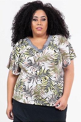 Blusa levitty manga flarê estampada plus size