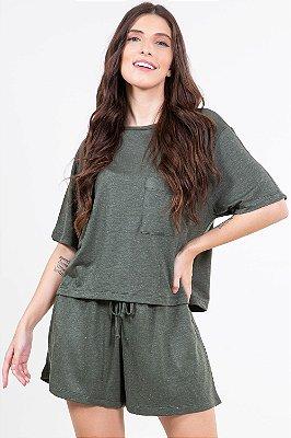 Blusa moletinho manga curta com fio metalizado