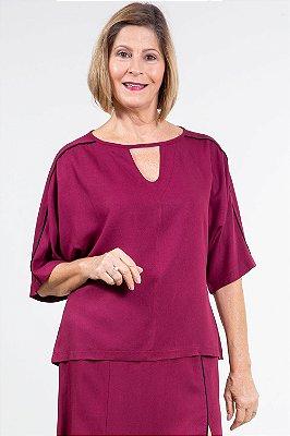 Blusa ampla manga curta lisa com frizzo