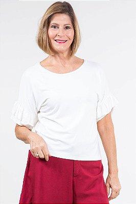 Blusa manga curta com babado lisa
