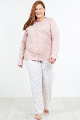Pijama longo com abertura frontal plus size pzama