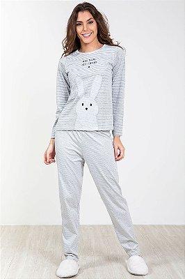 Pijama longo com bordado pzama