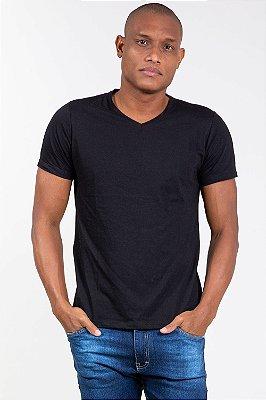 Camiseta básica gola v manga curta