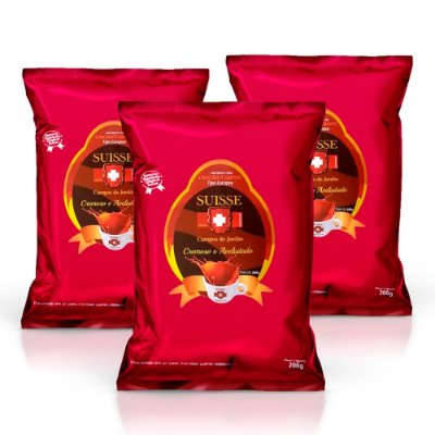 Kit com 3 pacotes de Chocolate Cremoso em Pó Estilo Europeu Suisse Chocolat (200g cada)