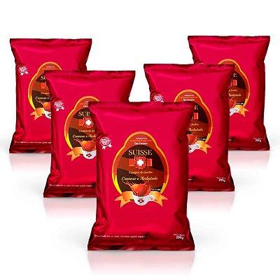 Kit com 5 pacotes de Chocolate Cremoso em Pó Estilo Europeu Suisse Chocolat (200g cada)