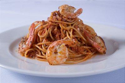 Spaghetti All'Amatriciana e Gamberi