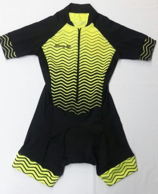 Macaquinho Ciclismo Feminino Colorido - Estampado Zig Zag - neon