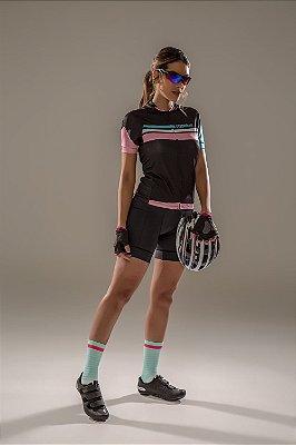 Camisa para Ciclismo Feminina Slim Colorida - Preto  Rosa e Azul Claro S125-64