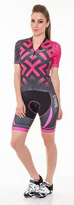 Camisa para Ciclismo Slim Feminina Colorida/  Estampada - Preto e Rosa Pink