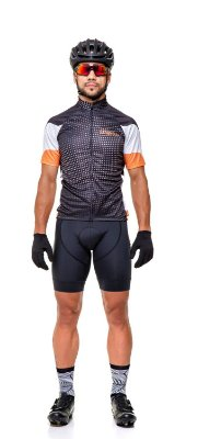Camisa Dry para Ciclismo Masculina - Preto com Amarelo - Preto com Laranja