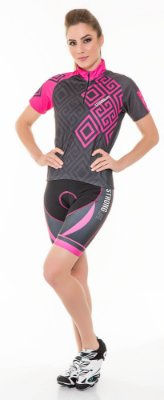 Camisa Dry para Ciclismo Feminina - Preto com Rosa