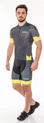 Camisa de Ciclismo Masculina SLIM - Preto com amarelo, Laranja ou Azul
