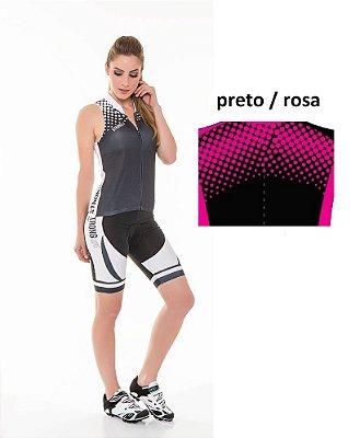 Colete para Ciclismo Feminino Colorido/  Estampado - Preto e Rosa Pink