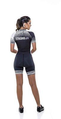 Macaquinho Ciclismo Feminino Colorido - Estampado Preto e Rosa S216-61