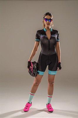 Macaquinho Ciclismo Feminino Colorido - Estampado Preto e Azul S216-62