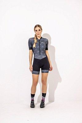Macaquinho Feminino para Ciclismo Amanda- Preto Estampa bikes S229-87