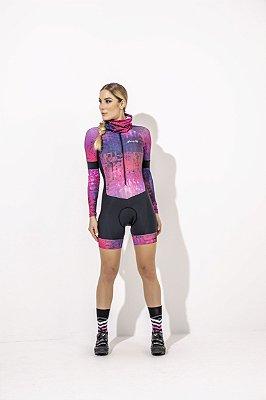 Macaquinho Feminino para Ciclismo Gabi  Preto Estampa Rosa S229-88