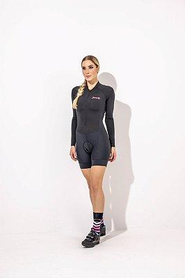 Macaquinho para Ciclismo Feminino Elise, manga longa  Preto