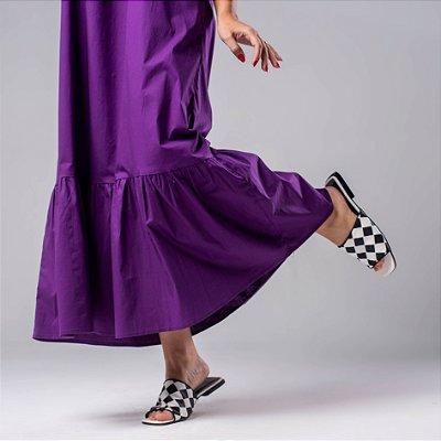 Vestido uva com barrado