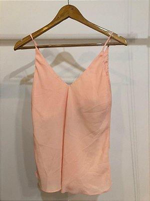 Blusa crepe alça rosa