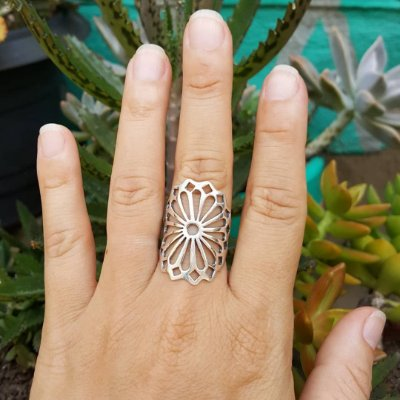 Anel flor mandala