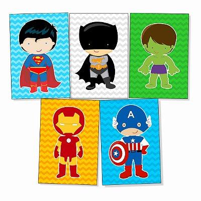 Kit 05 Placas Super Heróis- Cute