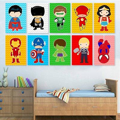 Kit 10 Placas Super Heróis - Cute