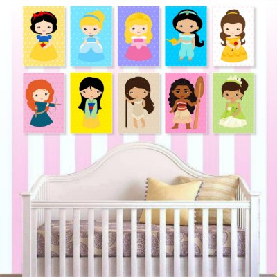 Kit 10 Placas Princesas - Cute