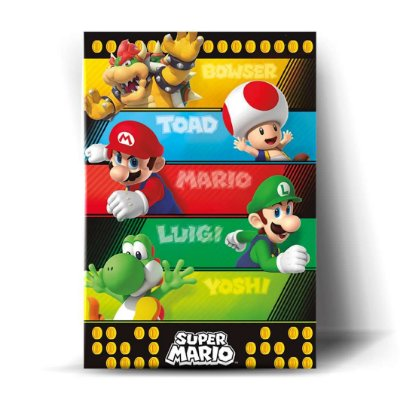 Bowser, Toad, Mario, Luigi, Yoshi