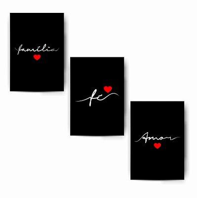 Família / Fé / Amor - Kit Black